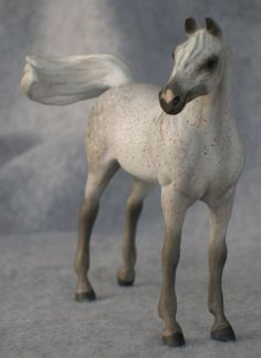 Peter Stone Chips Arab in dapple gray - model horse by Sarah Tregay