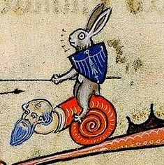 Sir Prize the Knight Bunny on his magical steed, the Mansnailthing