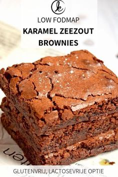 Tony's Chocolonely Karamel Zeezout Brownies Low FODMAP caramel sea salt brownies! Delicious soggy brownies with Tony's Chocolonely Caramel Sea Salt in it. These brownies are gluten-free and have a lactose-free option.
