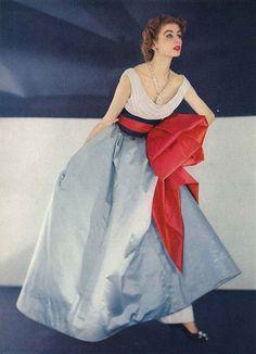 Horst P. Horst - Fashion in color_April Vogue 1952. Jacque Fath's most dramatic evening dress