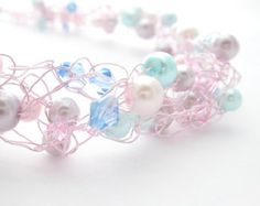 wire crochet  jewelry | Wire Crochet Beaded Necklace Green & Blue by MoonlightShimmer