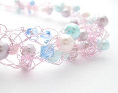 wire crochet  jewelry   Wire Crochet Beaded Necklace Green & Blue by MoonlightShimmer