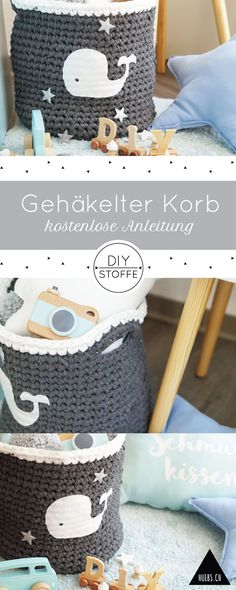 Crochet basket with whale - instructions & whale template- Gehäkelter Korb mit Wal – Anleitung & Wal-Vorlage DIY Basket / Utensilo Crochet for Nursery with Whale Applique – Free Tutorial / Freebook at diy-stoffe. Diy Basket, Diy Crafts To Sell, Easy Crafts, Art Minecraft, Crochet Whale, Baby Knitting Patterns, Crochet For Kids, Tutorial, Diy For Kids