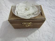Rustic Stained Chest with Ivory Organza Flower Wedding Ring Bearer Pillow Box