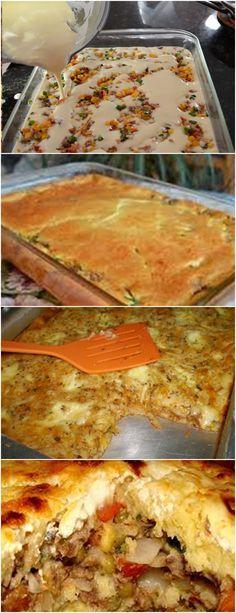 ESSA TORTA É UMA RECEITA QUE MINHA VÓ ENSINOU,DELICIOSA E FÁCIL!! VEJA AQUIDespeje a metade da massa numa forma de abrir, bem untada. Vá colocando, alternadamente, as sardinhas com o molho, as rodelas de #receita#bolo#torta#doce#sobremesa#aniversario#pudim#mousse#pave#Cheesecake#chocolate#confeitaria Creative Food, Casserole Recipes, Food Inspiration, Love Food, Food Porn, Food And Drink, Favorite Recipes, Yummy Food, Healthy Recipes