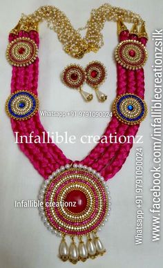 """To order  Whatsapp +91 9791090024 For more collections visit  """" www.facebook.com/infalliblecreationzsilk """"  Silk Thread Necklace, Silk Thread jewelry, Silk Thread neckwear, silk Thread Choker, silk thread sets, Grand Silk Thread Necklace, Silk Thread Party wear, Return Gifts, Wedding Gifts, Gifts for Bride, Seemandham Gifts, Gigts for women, Gifts for girls, Bridal necklace, fashion show necklace"""