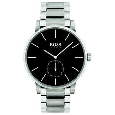 In this Essence watch from Boss, a deep black dial showcases polished steel details, while a two-tone finish on the bracelet completes the sophisticated aesthetic. Hugo Boss Watches, Watches For Men, Men's Watches, Cheap Watches, Watches Online, Luxury Watches, Black Stainless Steel, Stainless Steel Bracelet, Montres Hugo Boss