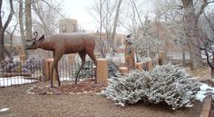Bronze Sculpture In the Snow, Canyon Road, Santa Fe, NM.