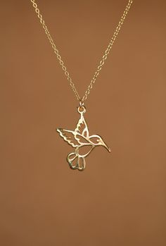 Humming bird necklace gold hummingbird necklace by BubuRuby