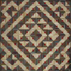 Quiltin' Cowgirl: Civil War Log Cabin Quilt. The set is somewhat like a Winged Square with a Barn Raising around it.