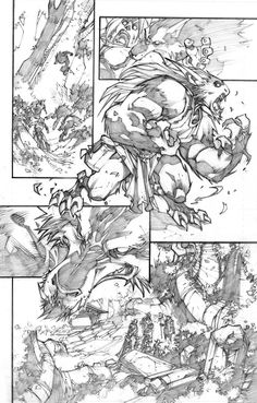 "pencil version of a page of the mini-serie ""world of warcraft-curse of the worgen"" color version on the page of the great Tony Washington ! [link] wow-curse of tha Comic Book Layout, Comic Book Pages, Comic Book Artists, Comic Books Art, Comic Art, Comic Style Art, Comic Styles, Storyboard, Understanding Comics"