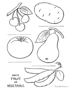Vegetables page printable to color