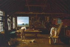 painting of woodworkers craftsman working in workshop