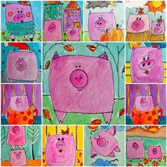 Cute for kinder! Use squares triangles and circles to create a pig. They can get creative when it comes to what the pig(s) is/are doing and where!