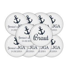 Für Die JGA Feier Der Braut   10 Hochzeitsbuttons (je 38mm Durchmesser) Mit  Anker