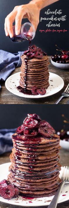 Vegan chocolate pancakes with cherries