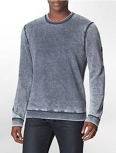 slim fit burnout cotton blend fleece sweatshirt by calvin klein