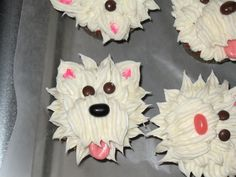 I made these cupcakes for my daughter's birthday celebration in school. It was so much fun to make. My 8 year old put the eyes, nose, ears and the mouth in I did the butter cream icing following the instructions in the Family Circle magazine.