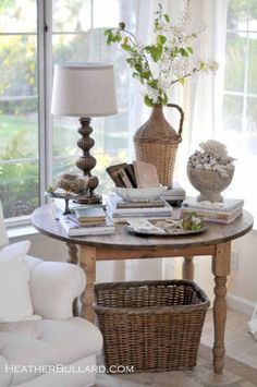 The perfect round end table.. I love the rustic casual look. This is beautiful for a corner