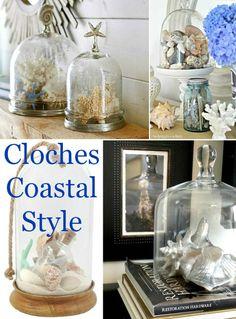 Glass Cloche Decor Ideas for Beach your Beach Treasures. Shop glass cloches & get inspiration here: http://www.completely-coastal.com/2016/03/glass-cloche-decor-ideas.html