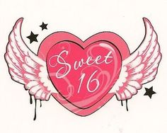 Sweet 16 Winged Heart ~ Edible Image Cake Topper => Additional info @ : baking decorations