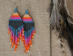 Colorful Brick Stitch Earrings by Tiny Assembly.