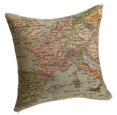 Claybox Decorative 18 x 18 Inch Linen Cloth Pillow Cover Cushion Case, Map of the Mediterranean