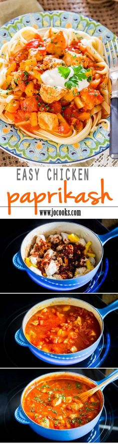 Easy chicken paprikash - a healthier alternative using chicken breast. Tender pieces of chicken breasts in a rich sweet paprika sauce with bell peppers and served over noodles. Perfect easy and quick weeknight dinner.