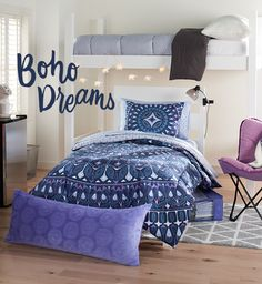 Have a passion for purple? Deck out your space in college this year with a geometric print in shades of violet, red and blue. Featured product includes: Simple by Design 8-pc. Medallion dorm kit (reversible comforter, pillow sham, flat sheet, fitted sheet, pillow case, storage tote and two bath towels), elephant string lights, memory foam butterfly chair, clip lamp, triangle rug. Get set for back to school at Kohl's.
