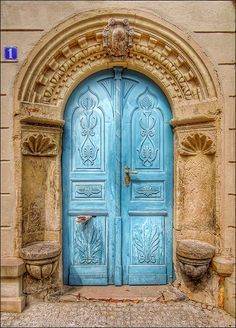 Dresden, Saxony, Germany, beautiful blue door, ornaments, details, curves, entrance, doorway, portal, photo