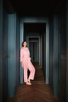 "Jenna Lyons in her hallway painted in Farrow & Ball's ""Card Room Green"". Found at ""Jenna Lyon's Space of Her Own"" - The New York Times"