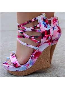Shoespie Cloth Flower Pattern Wedge Sandals