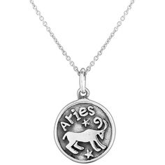 Bling Jewelry Bling Jewelry Aries Zodiac Sterling Silver Medallion... (£15) ❤ liked on Polyvore featuring jewelry, necklaces, grey, sterling silver charms pendants, sterling silver necklace pendant, pendant necklace, pendant charms and chain pendant necklace