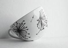 Dandelion Breeze Hand Painted Cappuccino MUG Custom OOAK Black and White Minimalist Minimal Mug