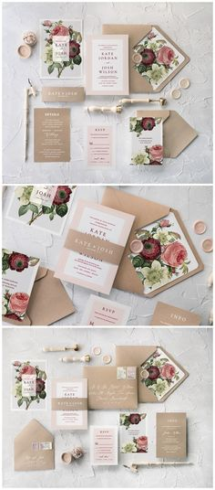 Vintage Rustic Roses Calligraphy Wedding Invitations 04BBNz #weddings #weddingideas #invitations #vintage #vintageweddings ❤️ http://www.deerpearlflowers.com/botanical-wedding-inviations-from-4lovepolkadots/