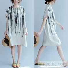 2017 Summer Nude Linen dress for summer plus size linen clothing causal loose shift dresses