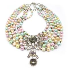 Image of Vintage 1950s Couture Six Row Pastel Pearl Paste Collar Statement Necklace