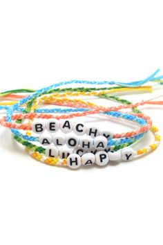 Braided summer bracelets in bright colors. Add your favorite summer quote to create your Bracelet stack at jaycimay.com          #summertime #beachy #aloha #happiness #bracelets #summer2019 Beachy Bracelets, Summer Bracelets, Colorful Bracelets, Happy Quotes, Happiness Quotes, Name Bracelet, Personalized Bracelets, Beach Fun, Stretch Bracelets