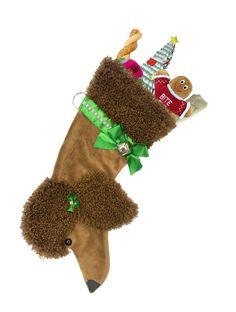Brown Poodle Christmas Stocking