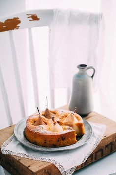 Carrot & Walnut Cake with Pears