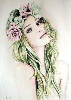 Eva Garrido #floralcrown #headback