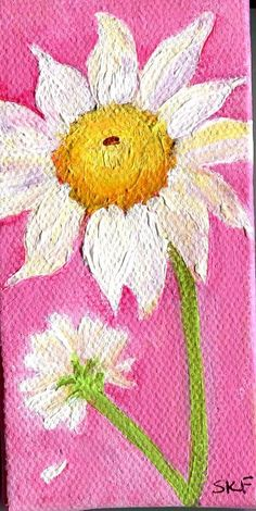 Shasta Daisy Painting on Mini Canvas with Easel by SharonFosterArt, $16.00