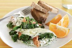 Creamy goat cheese & smoky salmon in this omelet from @fitbie make it a decadent, healthy meal fit for any time of the day.