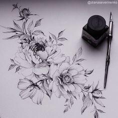 Blumen Designs + 120 Designs – Tattoos Ideen – Brenda O. Tattoo ideen - flower tattoos - Blumen Designs 120 Designs Tattoos Ideen Brenda O. Tattoo Sketches, Tattoo Drawings, Body Art Tattoos, Sleeve Tattoos, Cool Tattoos, Tatoos, Tatoo Flowers, Peonies Tattoo, Peony Flower Tattoos