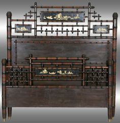 Faux Bamboo Queen Size Bed with Japanesque Panels. An unusual form in American faux bamboo furniture with hand painted Oriental motif scenic panels.