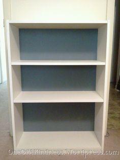 white bookshelf gray back