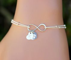 Personalized Infinity Bracelet, Personalized Jewelry, Charm, Chain,Friendship,Heart initial bracelet, Bridal,Valentine's Day  Holidays GIFTS by BenyDesign on Etsy https://www.etsy.com/listing/206332766/personalized-infinity-bracelet