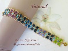 Bracelet beading tutorial beadweaving pattern beaded seed beads jewelry beadwork instructions - beadwoven PARVA PAPILIO