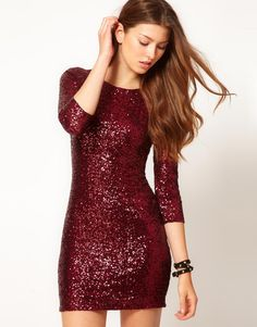 maroon sequined dress. perfect for the holidays
