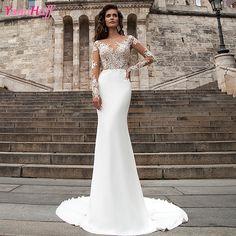Vintage Mermaid Wedding Dresses Lace Long Sleeve White Abiti da sposa Sexy Summer African Bridal Wedding Gowns Chiffon Y66